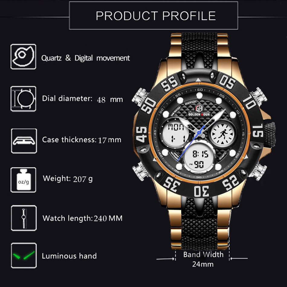 Huge Men Watch Japanese movement Free Shipping Sweekh.com